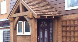 Solid Oak Porch with Cedar Shingles