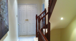 Custom made staircase leading to loft rooms